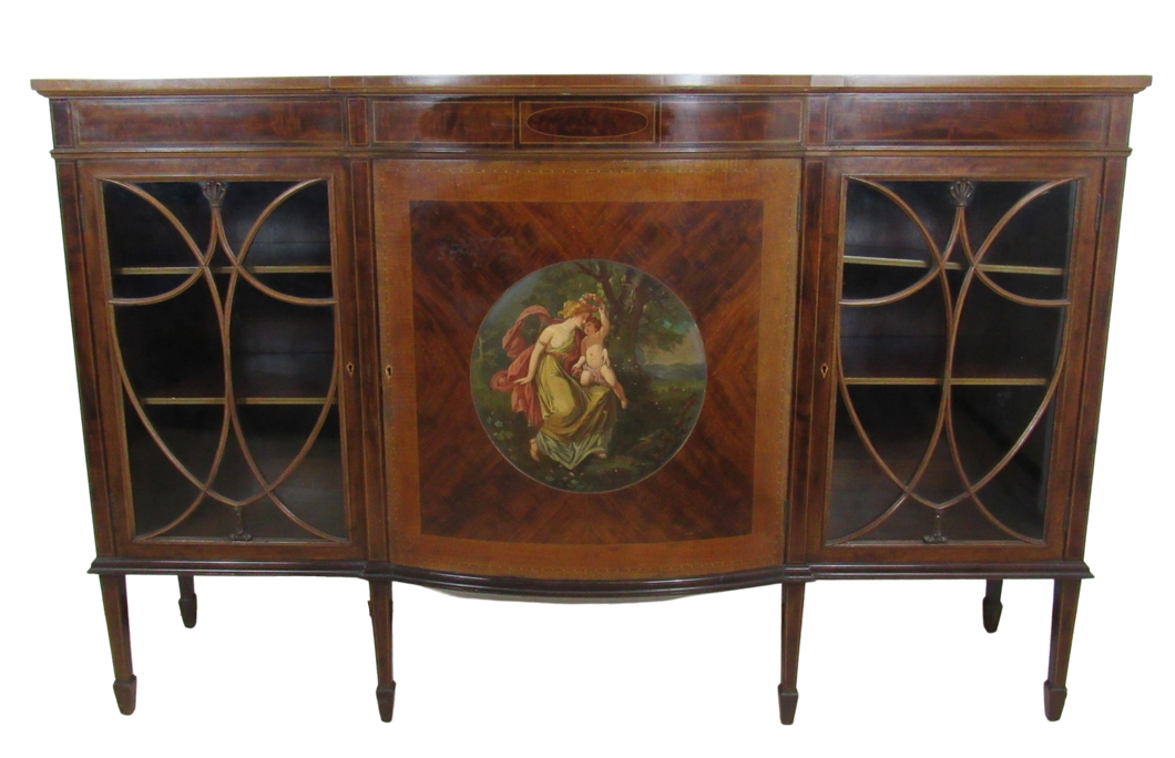 Superb Fiddleback Mahogany Painted Cabinet