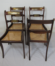 Load image into Gallery viewer, Set Of Four Regency Brass Inlaid Chairs