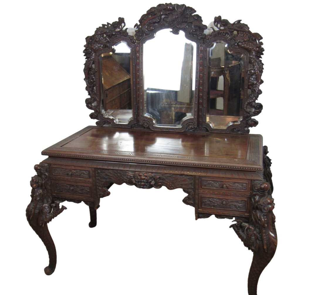 Fantastic 19th Century Carved Dressing Table
