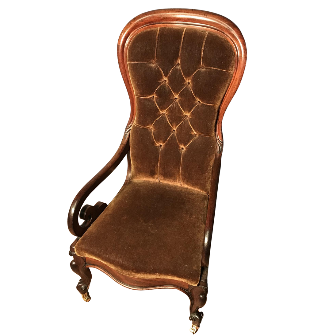 Victorian Mahogany Scroll Arm Nursing Chair