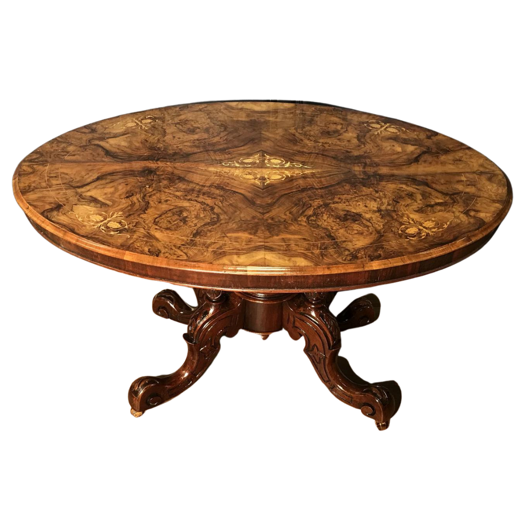 Victorian Burr Walnut & Marquetry Loo Table