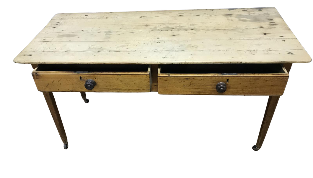 Georgian Two Drawer Pine Side Table