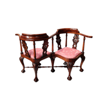 Load image into Gallery viewer, Carved Mahogany Victorian Love Conversation Chair
