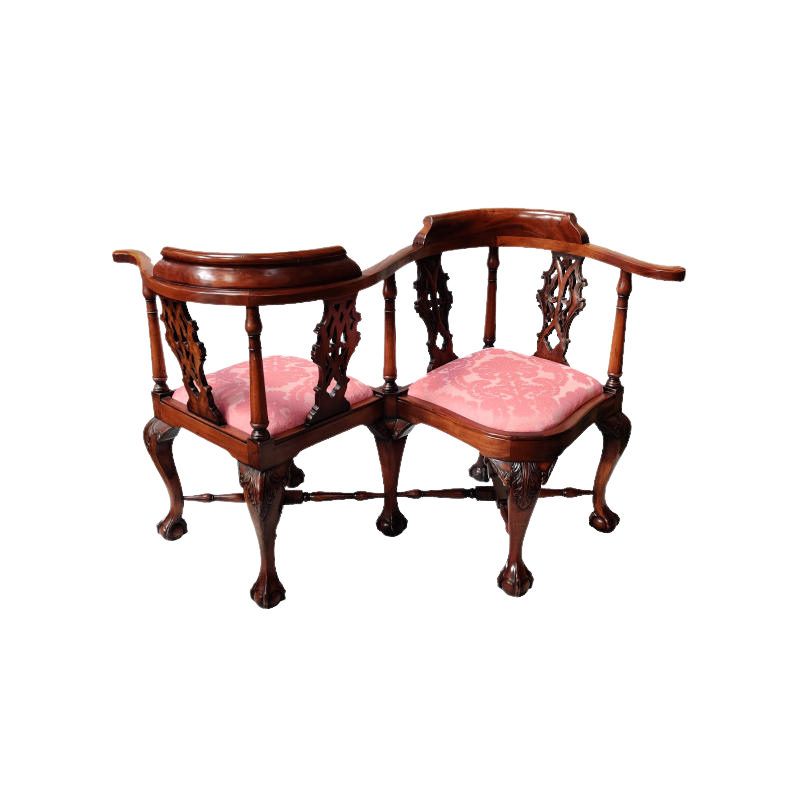Carved Mahogany Victorian Love Conversation Chair