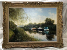Load image into Gallery viewer, English Oil Painting Pastoral Boats Heybridge Basin Canal Listed Graham Petley
