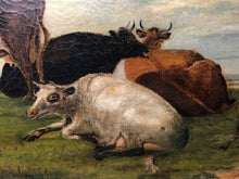"Load image into Gallery viewer, 19th Century Oil Painting ""Cattle In Water Meadow"" Attributed William Fleming"
