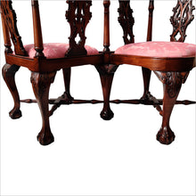 Load image into Gallery viewer, Stunning Carved Mahogany Victorian Love / Conversation Chair