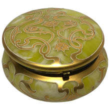 Load image into Gallery viewer, Art Nouveau Loetz Art Glass Round Gilt Floral Trinket Box