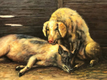 "Load image into Gallery viewer, Oil Painting Study Of ""Country Farm Animals Pigs In Outhouse"""