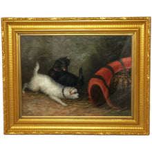 "Load image into Gallery viewer, Fine Oil Painting ""2 Terrier Dogs In Barn Ratting"" After Edward George ArmfieldFine Oil Painting ""2 Terrier Dogs In Barn Ratting"" After Edward George Armfield"