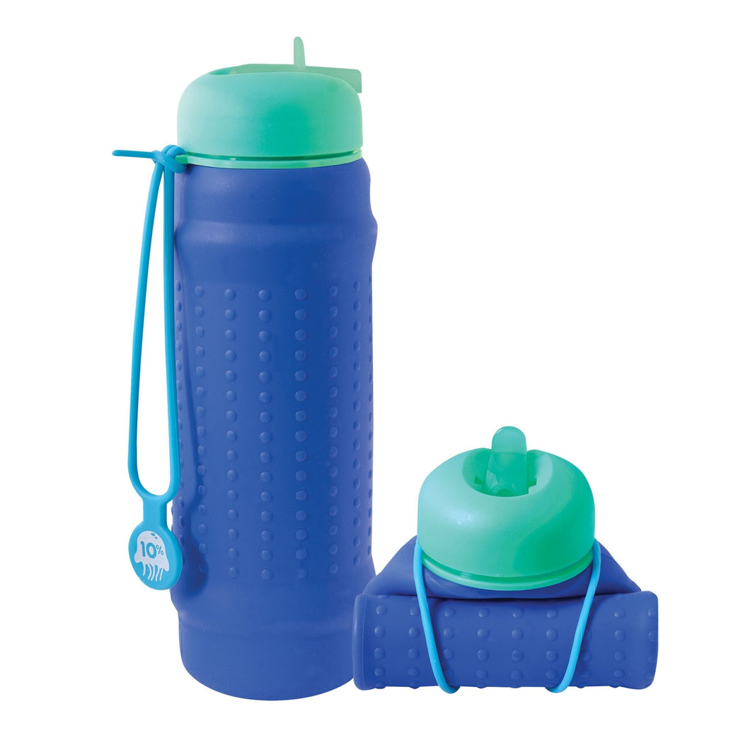 Collapsible water bottle in bright colours made from premium food grade silicone called a Rolla Bottle – leak proof and easy to clean - cobalt