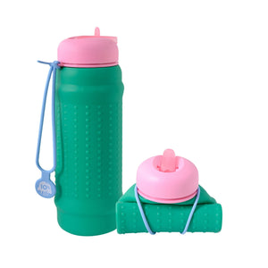 Collapsible water bottle in bright colours made from premium food grade silicone called a Rolla Bottle – leak proof and easy to clean - green