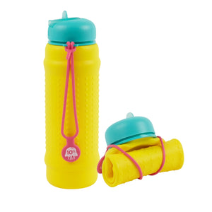 Collapsible water bottle in bright colours made from premium food grade silicone called a Rolla Bottle – leak proof and easy to clean - yellow