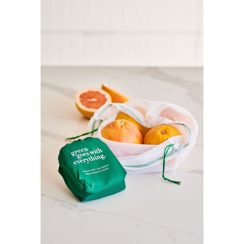 Reusable produce bag in white mesh in a 5 pack