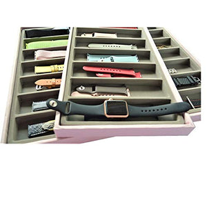 Stackable Smartwatch & Accessories 3-Layer Organizer (Pink/Gray)