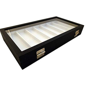 Wood Leatherette Box Glass Cover (Black/White)