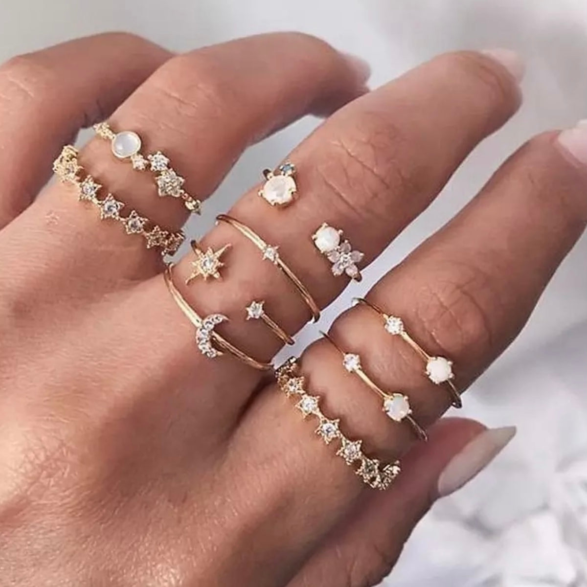9 Piece Dainty Ring Set
