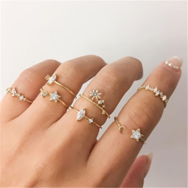 7 Piece Dainty Ring Set