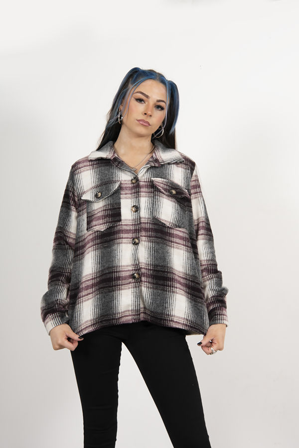 WINE BRUSHED CHECK OVERSIZED SHACKET