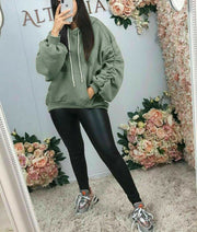 Womens Ruched Sleeve Fleece Oversized Hooded Ladies Sweatshirt Hoodie Jumper Top