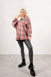 PINK CHECKED OVERSIZED SHIRT