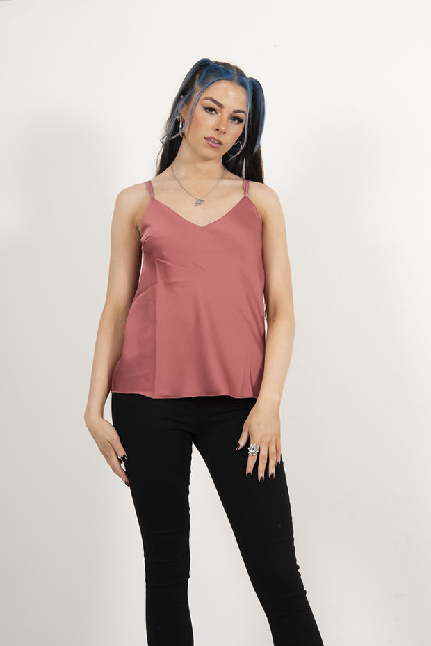 DUSTY ROSE SATIN CAMI VEST TOP