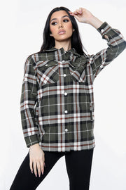 Square Print Shirt Collar Shacket
