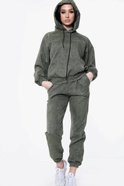 Faux Suede Hooded Tracksuit