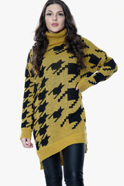 NEW COLOURS Houndstooth Oversized Roll Neck Jumper (Six Colours)