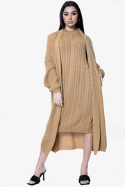 Long Line Knitted Dress & Cardigan Two Piece Set