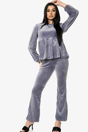 Flared Trousers Velour Loungewear Co-Ord Set
