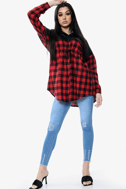 Vegan Leather Check Print Contrast Shirt Dress