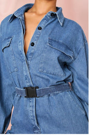 DENIM UTILITY JUMPSUIT SIZE 6