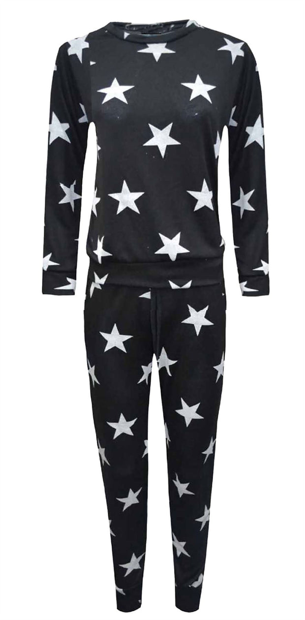 Star Print 2 Piece Tracksuit Jogging Lounge Suit