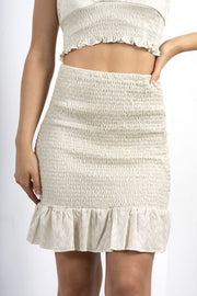 NUDE METALLIC SHIRRED FRILL HEM SKIRT
