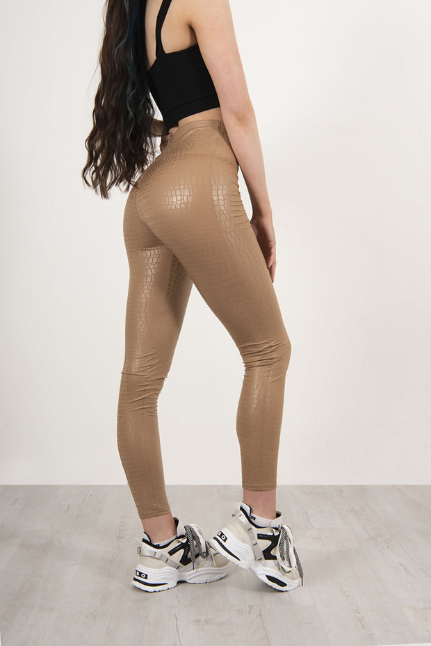 BEIGE FAUX LEATHER CROC PRINT HIGH WAISTED LEGGINGS