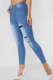 Ripped Layered Denim Skinny Jeans