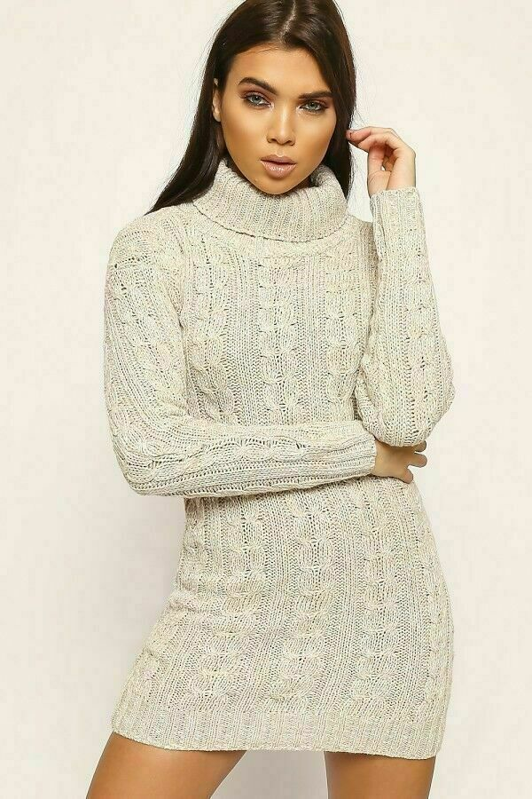 Ladies Chunky Cable Knitted Polo Neck Jumper