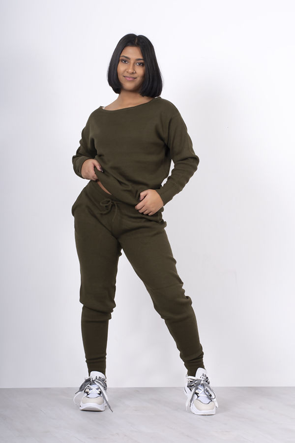 KHAKI LOUNGE WEAR KNITTED SET