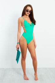TURQUOISE FRILL BACKLESS SWIMSUIT