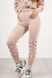 DUSTY PINK KNITTED BUBBLE LOUNGE SET