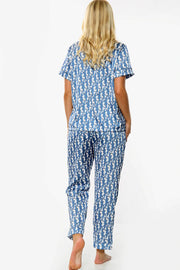 Letter Print Satin PJ Trousers Set