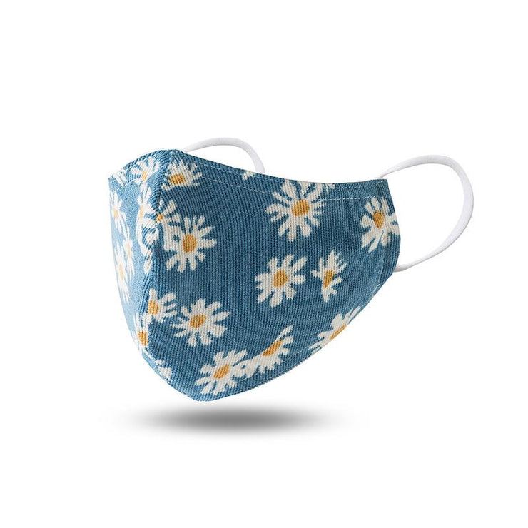Blue Daisy Double Layered Washable Cotton Face Mask
