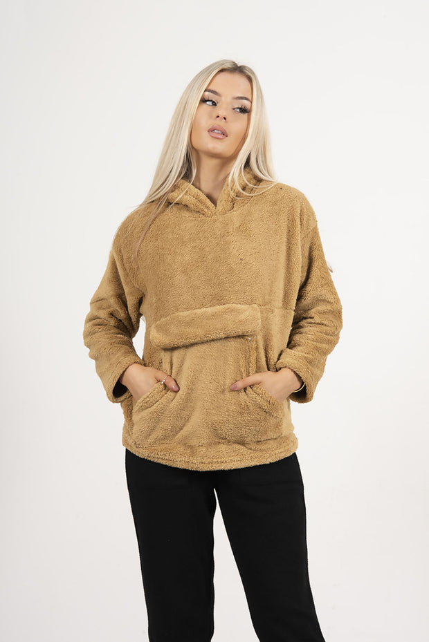 CAMEL BORG PULLOVER HOODIE