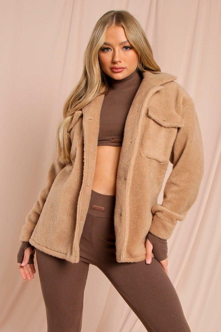 CAMEL BRUSHED BUTTON DOWN JACKET