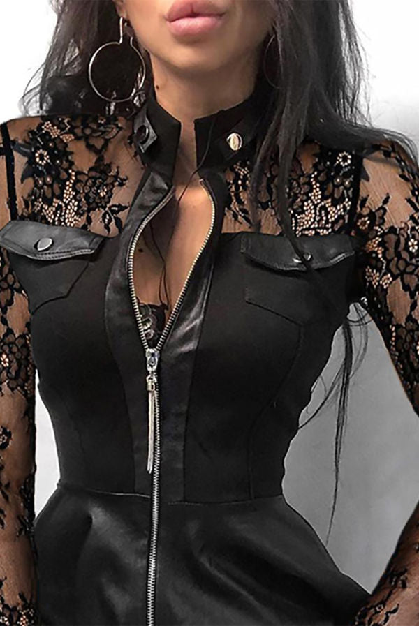 BLACK SHEER MESH LACE ZIPPER DESIGN PU DRESS