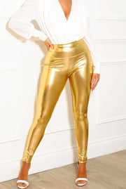 GOLD LEATHER LOOK HIGH WAIST LEGGINGS