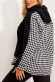 BLACK WITH WHITE DOGTOOTH FLEECE HOODIE