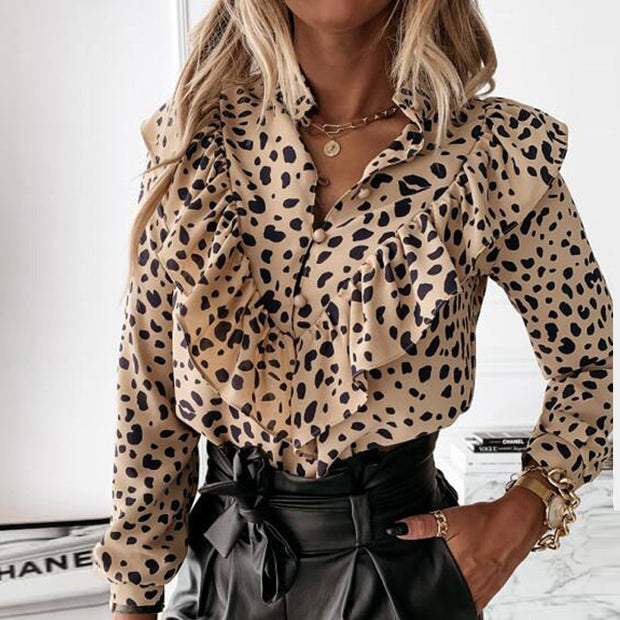 Casual Leopard Dot Print Tops Lady