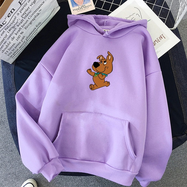 Oversized Cute Dog Print Hoodies